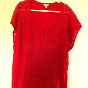 Red cotton Lucky Brand tee 3X